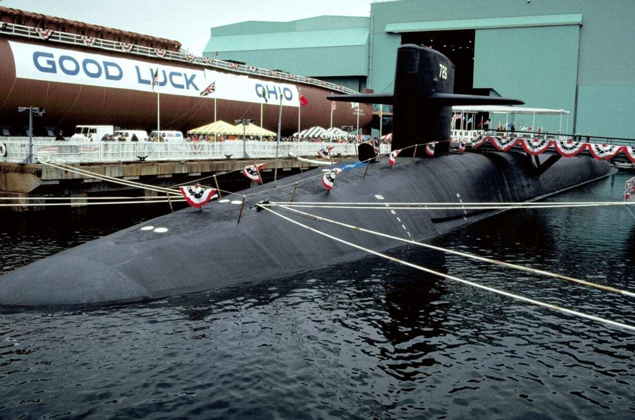 USS Ohio Docked at a Naval Base