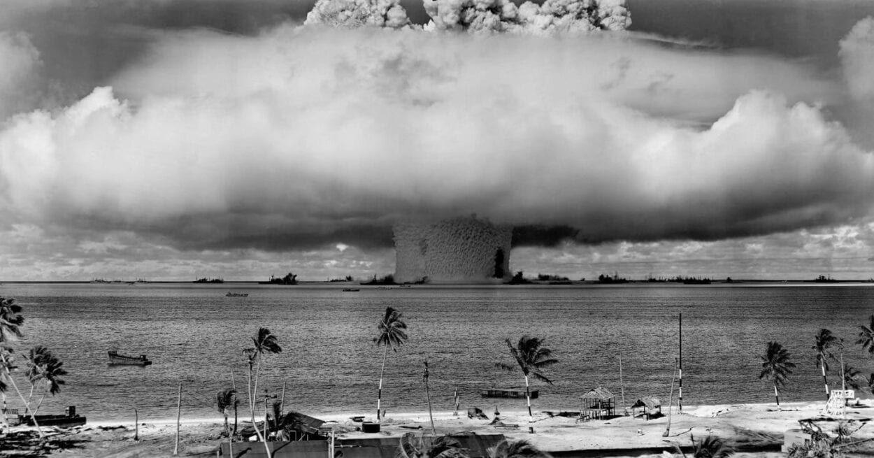 black and white photo of a nuclear explosion