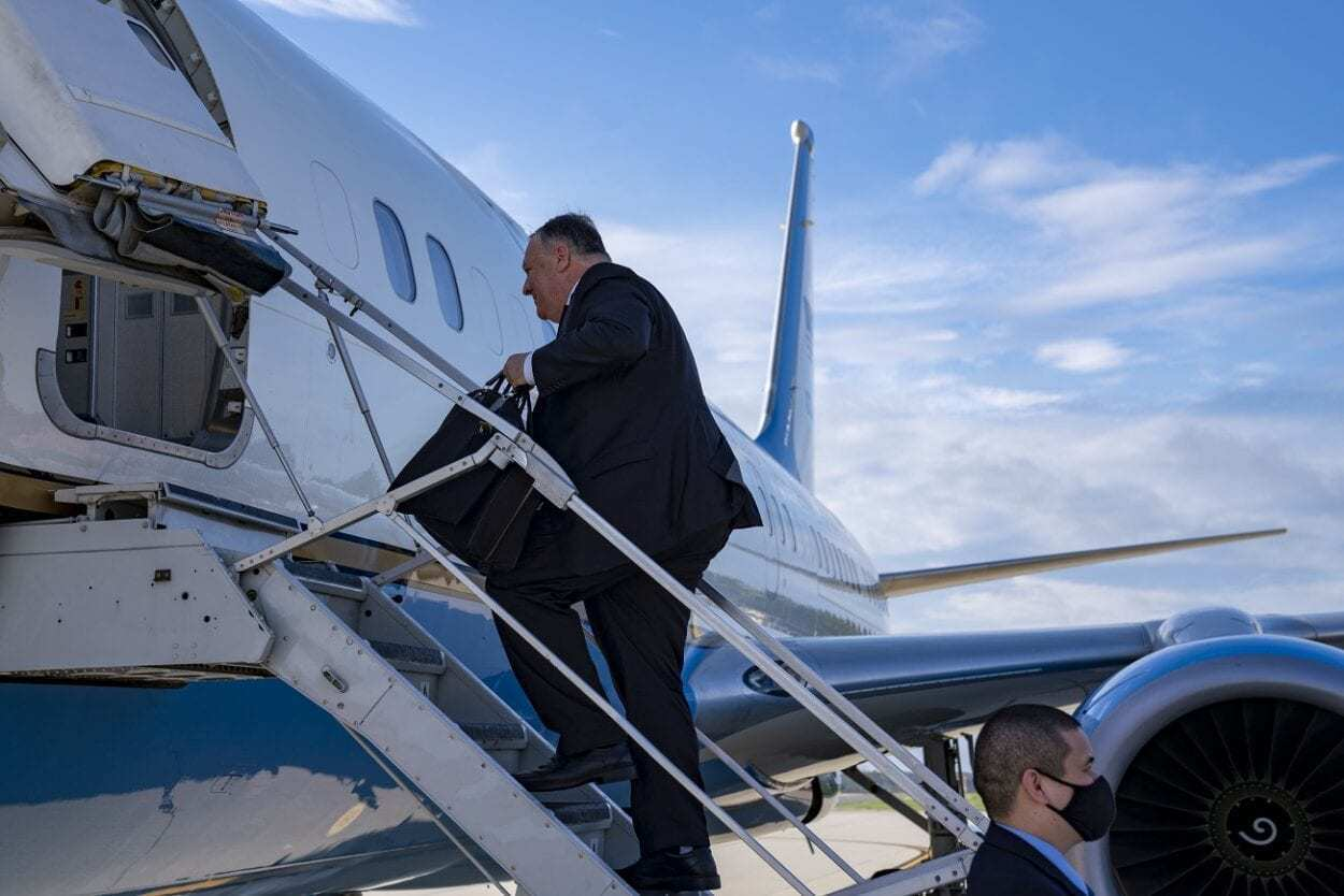 Mike Pompeo Leaving for speech.