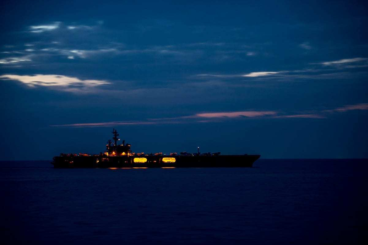 Aircraft Carrier at Night
