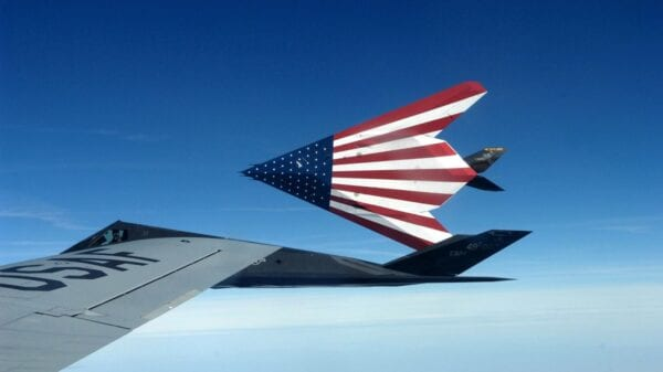F-117 Nighthawk with USA Flag.