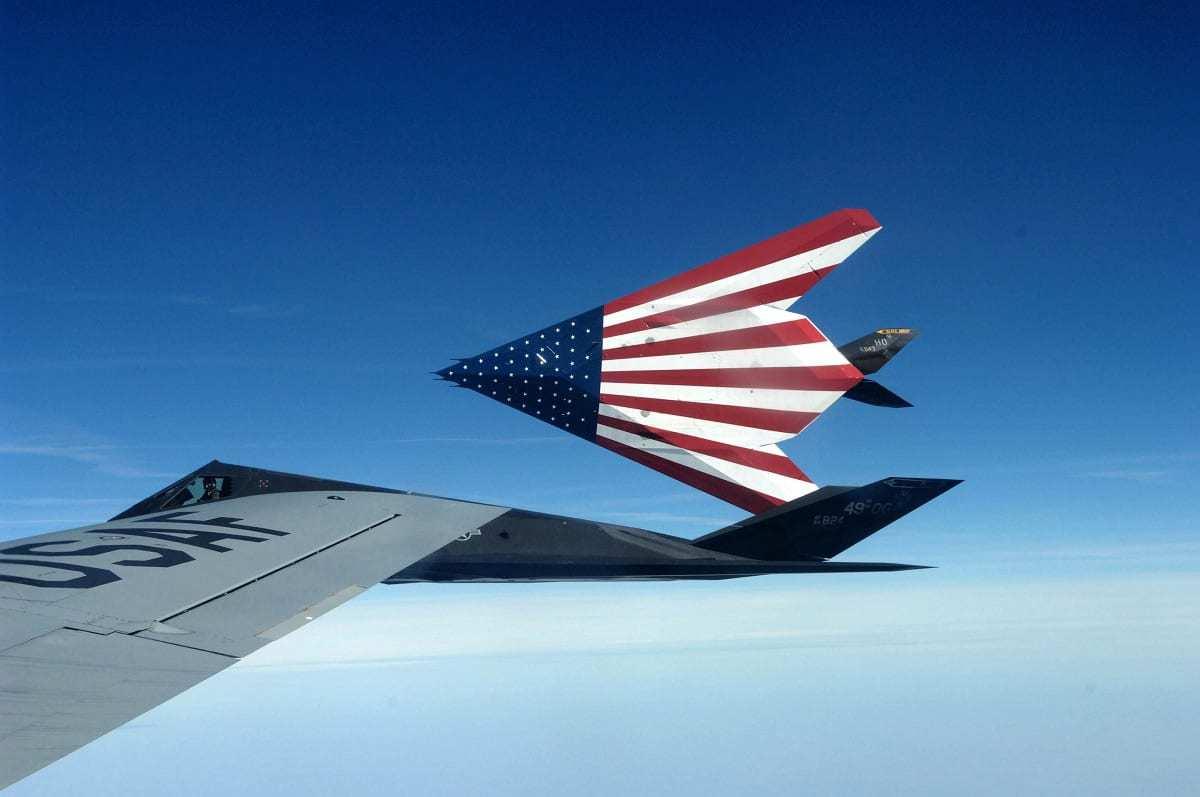 F-117 Nighthawk with USA Flag.
