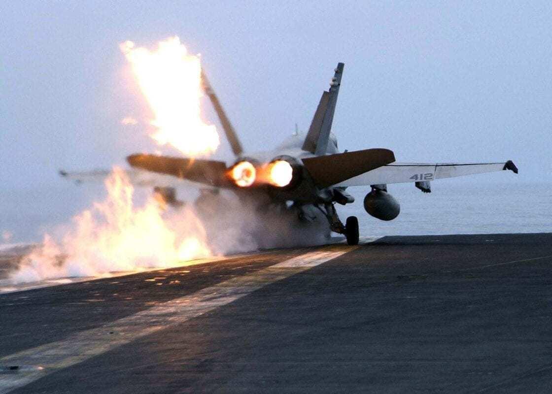 F/A-18 on Aircraft Carrier Deck.