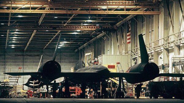 SR-71 Blackbird in a hanger.
